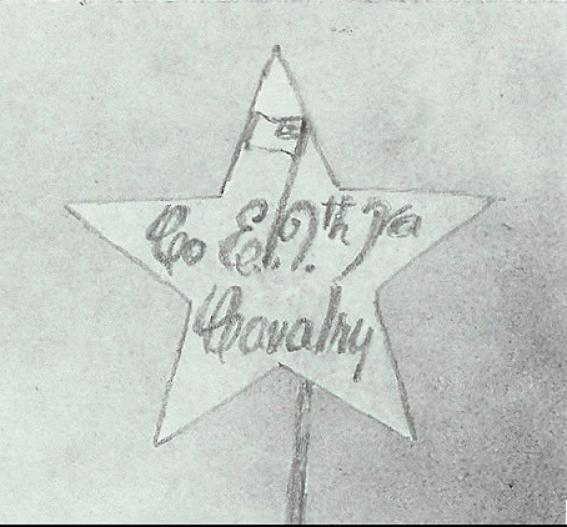 The star insignia worn by members of the 9th VA Cavalry, beginning in December 1863. This is a drawing of an original emblem that belonged to Vespasion Chancellor, Co. E (Krick)
