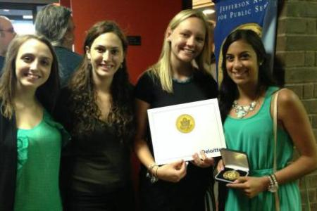 Sydney (second from L) and fellow officers accept their Jefferson Youth Challenge Award for Public Service