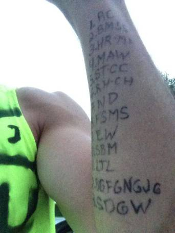 Luke's forearm: initials of people in his life or the lives of his friends who have suffered from cancer — one for each mile he ran in the  Musselman Triathlon .