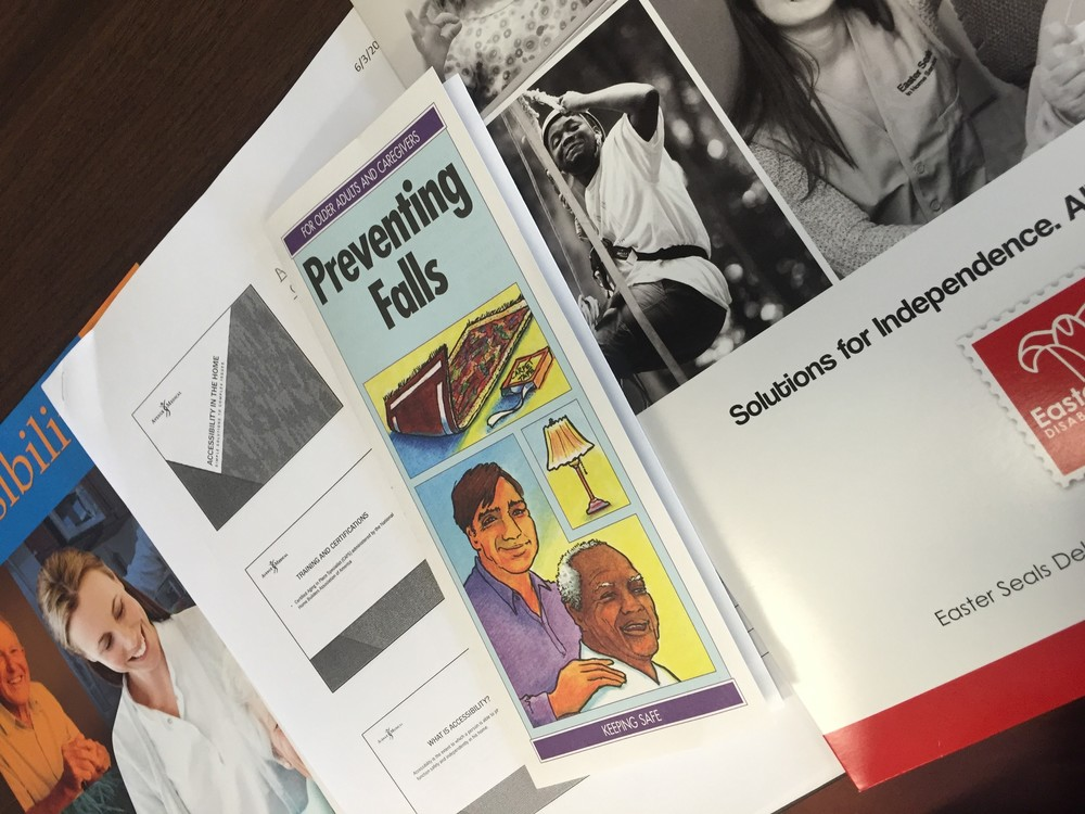 Alyssa's education materials from the Fall Prevention workshop at Easter Seals in New Castle