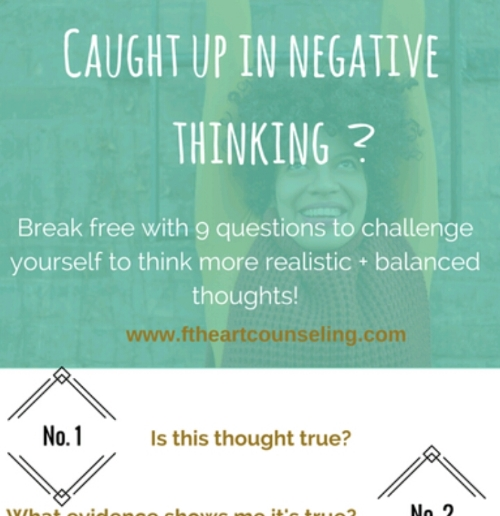 Print this handy infographic for challenging your thoughts + helping you get to a state of realistic thinking! The most important part of this process is to be honest with yourself!  Click the picture to grab your infographic!