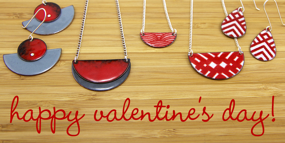 Get a treat for your sweetie or give yourself a little love with some handmade colorful jewelry.    Sign up for my email newsletter during the month of February and I'll send you a coupon to save 15% off any of my handmade enamel jewelry in  my shop . To sign up, simply click the button on the right and enter you email and I'll email you the coupon code.