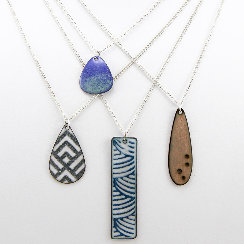 "Introducing Handmade Enamel Necklaces by Iris Willow    My brand new enamel necklaces are now available for sale in  my etsy shop  in five different styles. More styles and color combos coming soon.    Tiny Drop Necklaces  - Beautiful in two tones on a shorter 16"" sterling chain.    Tiny Holes Long Teardrop Necklaces  - Fun single color necklace with four holes on a slightly longer 18"" sterling chain.    Screen Printed Pattern Necklaces  - In two fun shapes, a long rectangle and teardrop printed with geometric and curve patterns on a longer 22"" sterling chain.    Check them out today!"