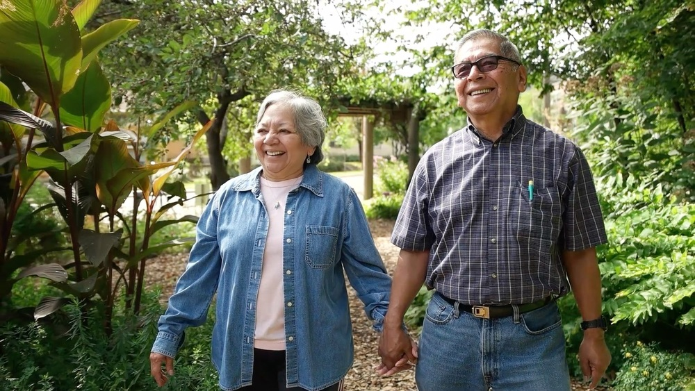happy latino senior couple