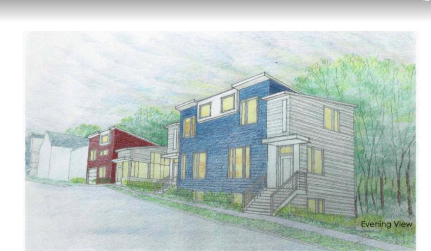 """OAKDALE   Este proyecto, ubicado a lo largo de Oakdale Avenue en el West Side, entre State St. y Baker Ave, proporcionará 9 nuevas oportunidades de vivienda. NeDA planea desarrollar en 2 fases. A fines del verano de 2018, iniciaremos la construcción de una casa gemela y una casa estilo """"bungalow"""". Luego, en 2019, avanzaremos y construiremos 3 casas gemelas adicionales. En total, este sitio albergará 9 nuevas propiedades para crear propietarios de vivienda. Los planos arquitectónicos aún están en desarrollo y los diseños finales del sitio están en proceso. La reproducción de color arriba refleja uno de los diseños propuestos para la primera fase de desarrollo. Póngase en contacto con Gail Merriam, nuestra Promotora de Bienes Raíces, con preguntas en gmerriam@nedahome.org"""