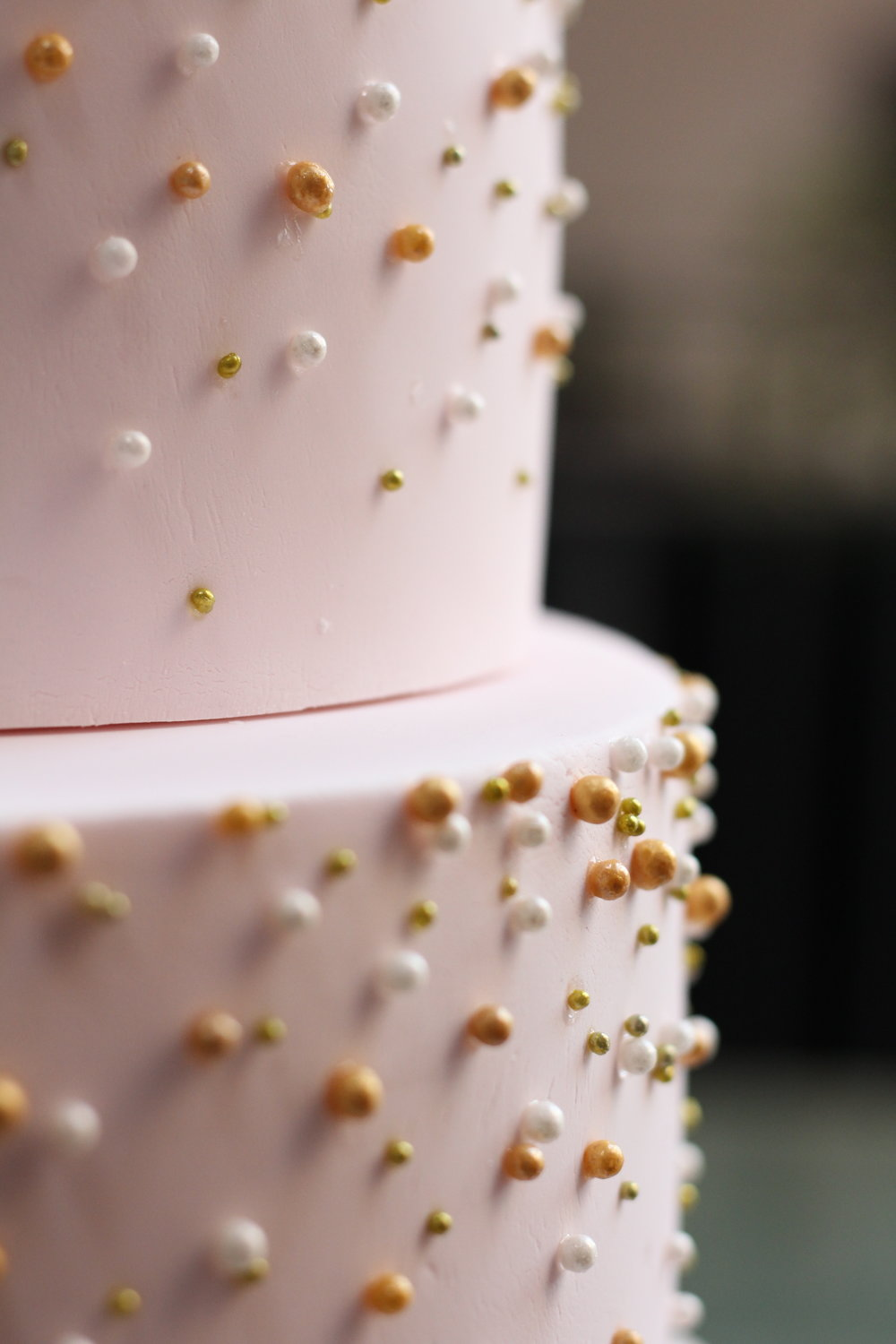 Rose Quartz Beaded Wedding Cake