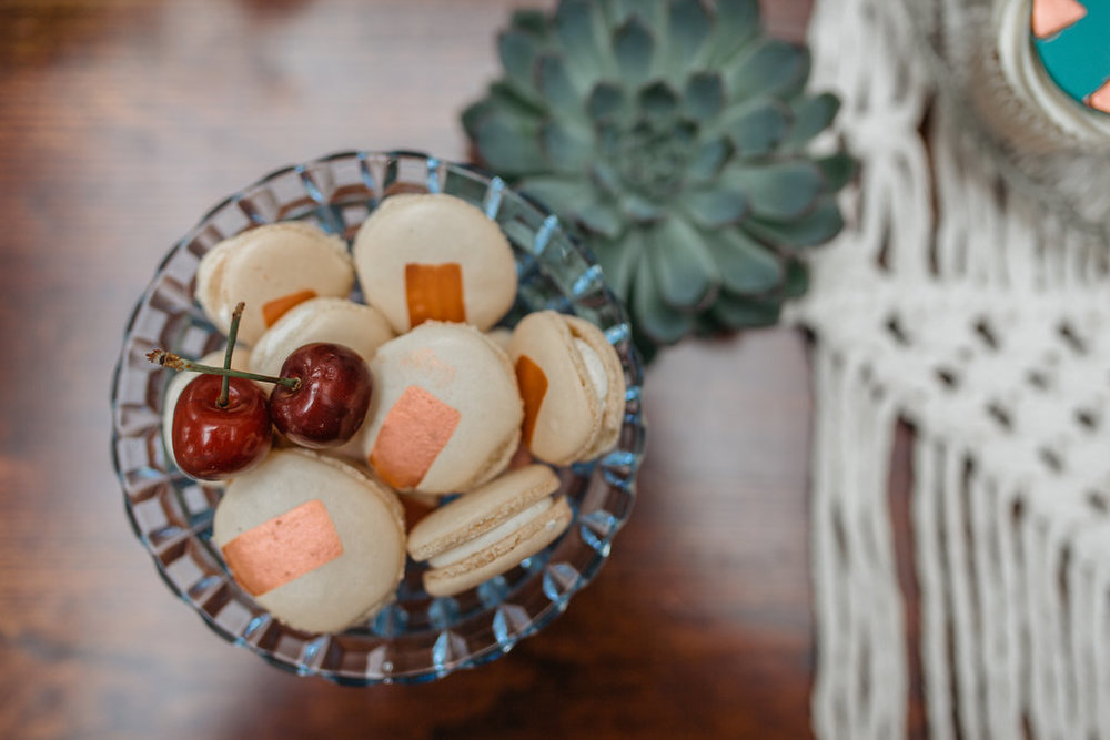 Boho botanical wedding copper macarons | The Sweet Stuff