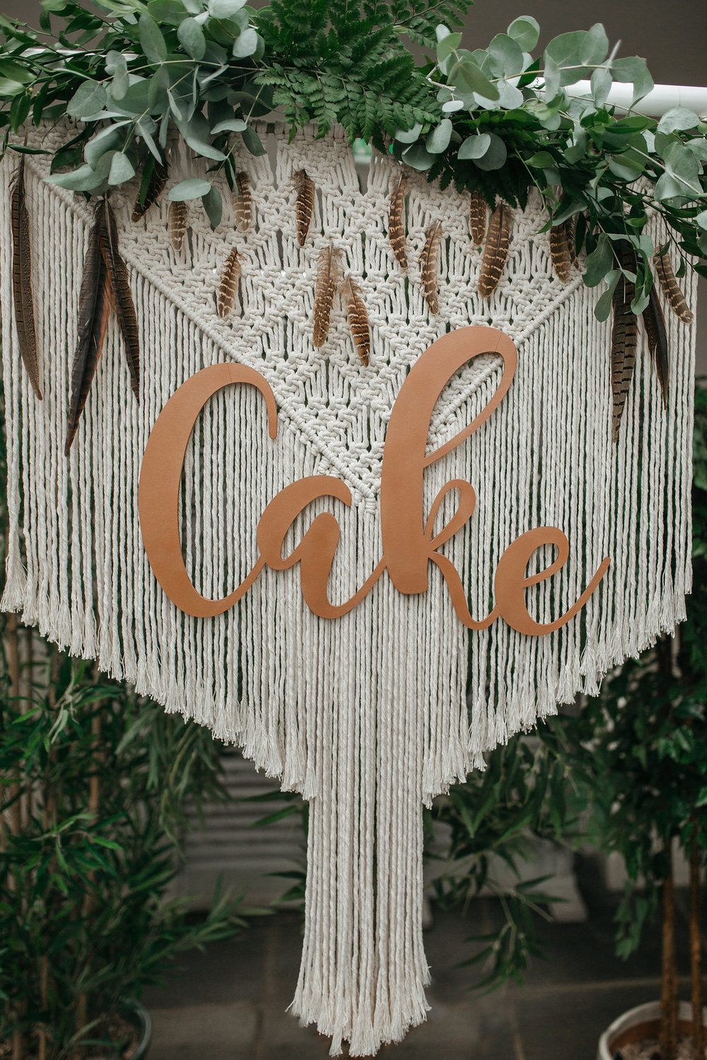 Boho botanical macrame and copper backdrop | The Sweet Stuff