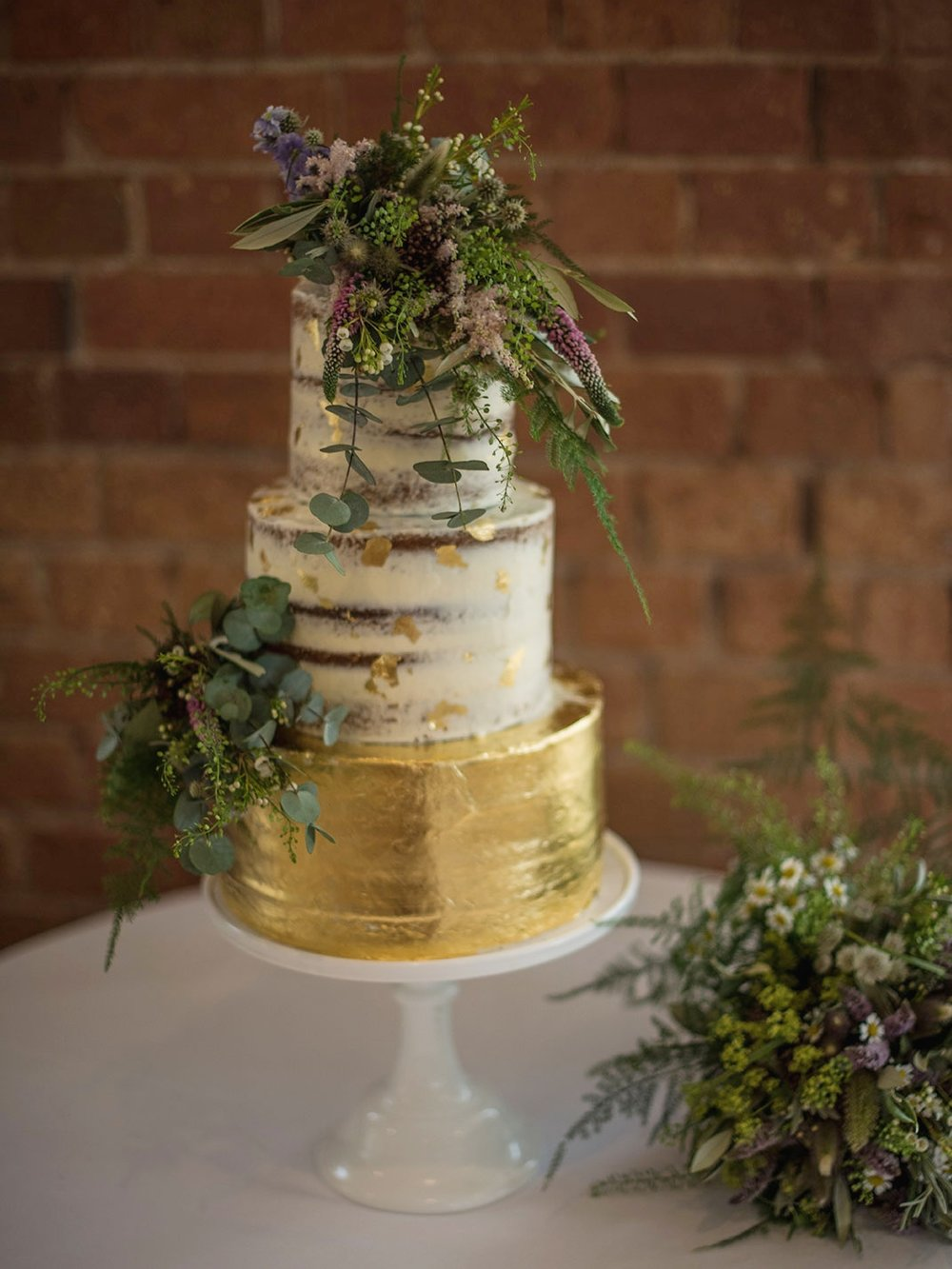 Semi-naked and gold leaf cake