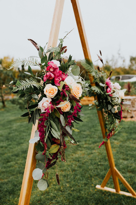 floral wedding ceremony backdrop