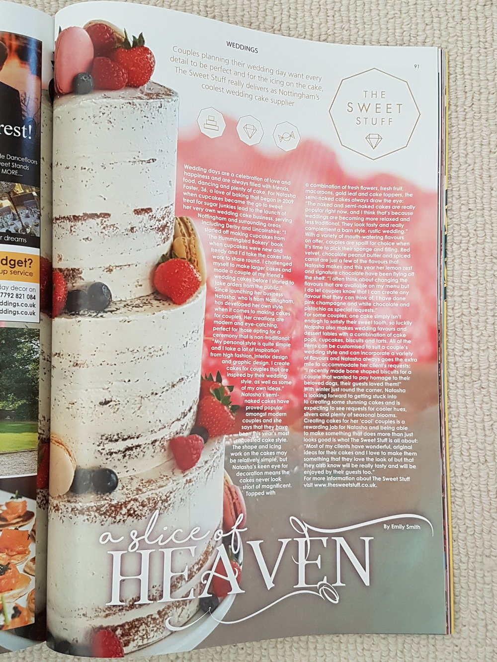 Nottinghamshire Aspect wedding cake feature