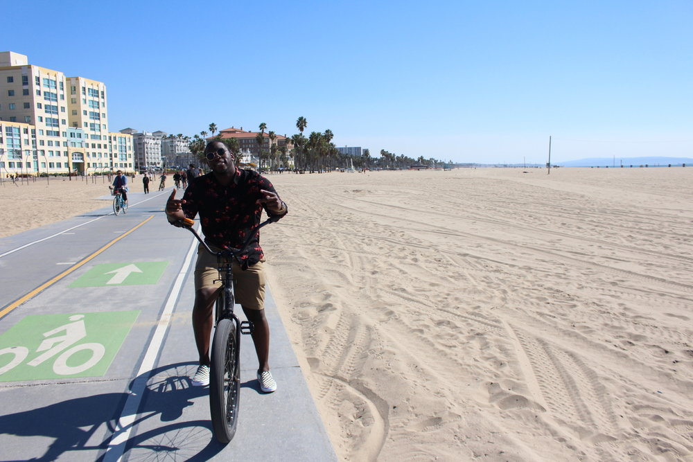 Cycling on the boardwalk