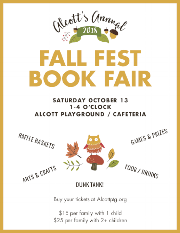 Alcott Fall Fest - Alcott's 2nd Annual Fall Fest is Saturday October 13th from 1-4pm! Look for Sign Up Genius via The Thursday Owl. Tickets on sale next week or online now! Tickets are $15.00 per family with 1 child or $25.00 per family with 2 or more children. Click below to buy them now with PayPal.