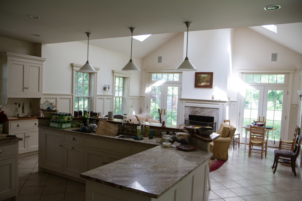 The common house kitchen was renovated recently with skylights, granite counters, and radiant floor heat.