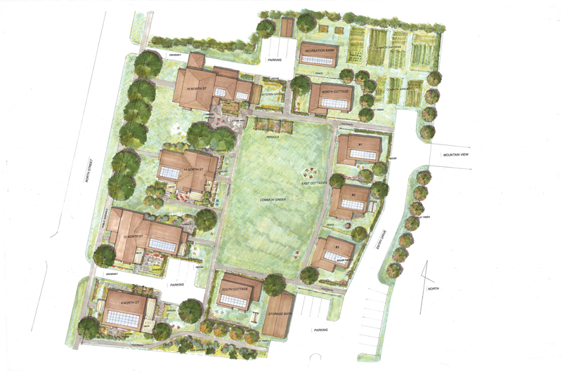 Draft rendering of site plan drawn by our landscape architect Katie Raycroft-Meyer. Building designs by Vermont Integrated Architects.