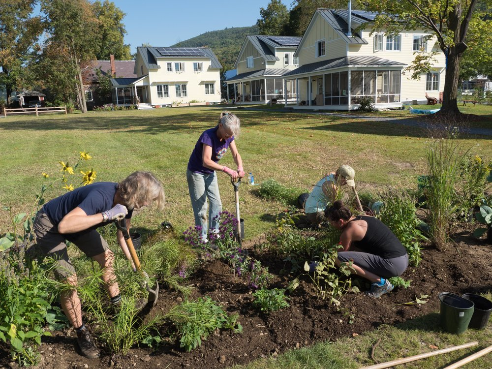 Planting the rain garden designed by Katie Raycroft-Meyer, our landscape architect (far left).