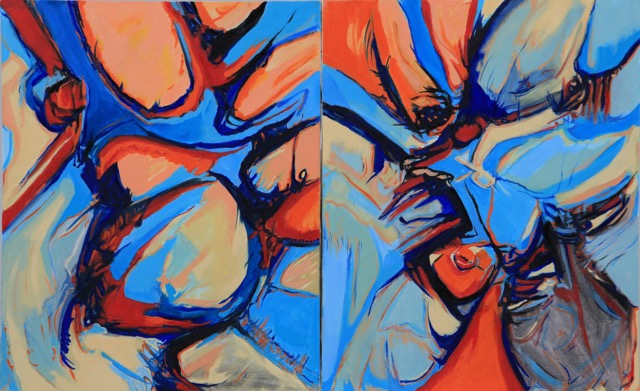 """Cadmium Caribbean Diptych,"" oils on canvas, 20""h x 16""w (private collection in Chapel Hill, NC)"