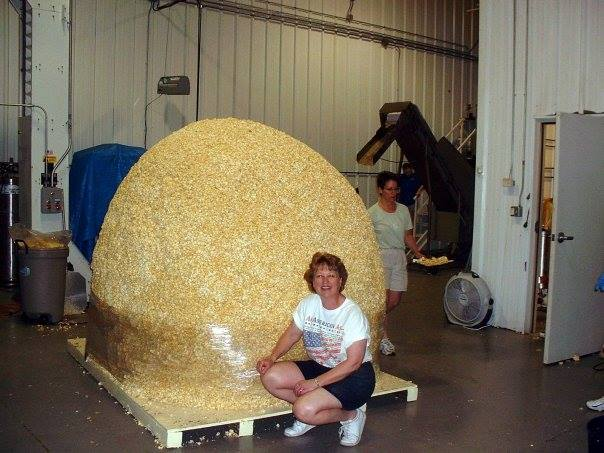The completed 1995 popcorn ball. Photo courtesy the  World's Largest Popcorn Ball on Facebook .