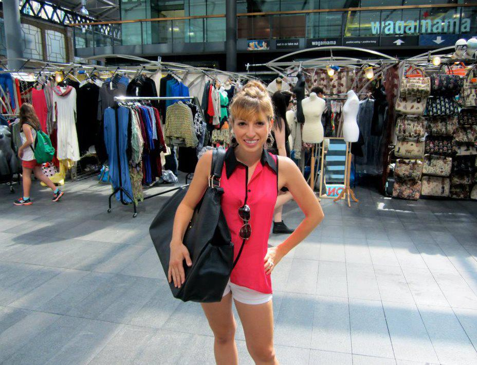 Designer, Rachel Sanches, taking the weekender tote out for a spin at Old Spitalfields Market in London.