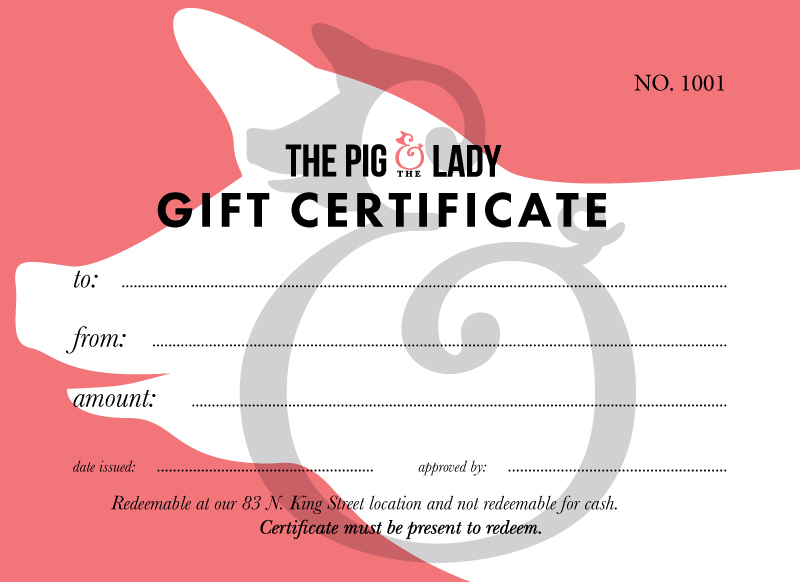 Gift certificates the pig and the lady gift certificates negle Images