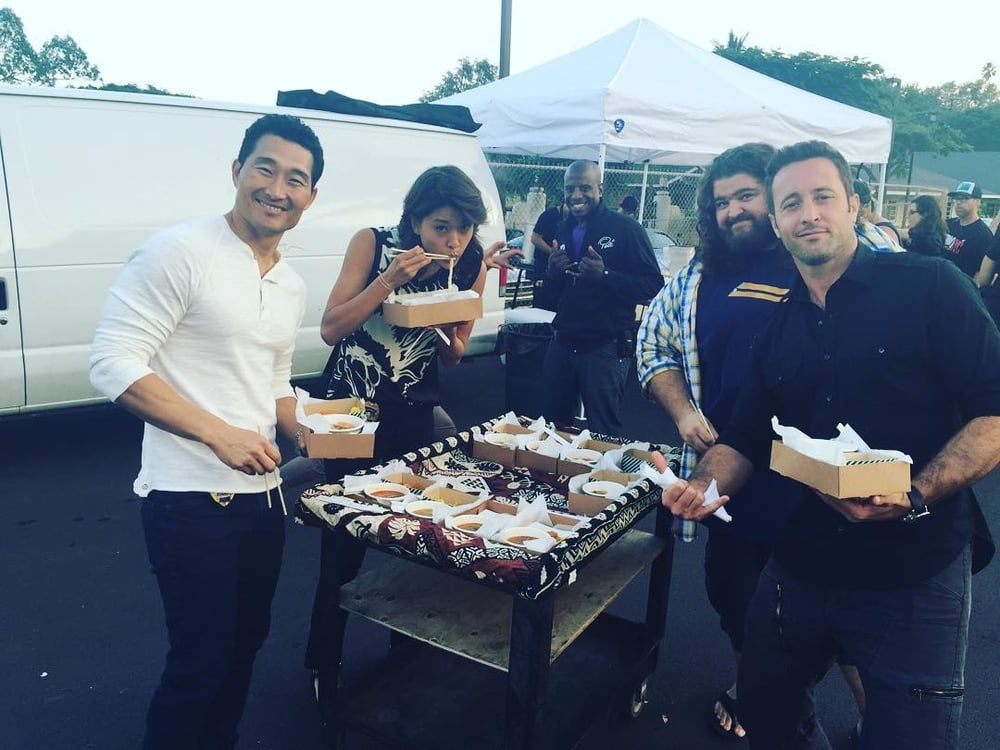 We catered for the HAWAII FIVE-O Team on Monday and it was a lot of fun! Daniel Dae Kim and Grace Park are regulars at the restaurant, and we've had the pleasure of hosting Alex O'Loughlin and Jorge Garcia in the past as well.