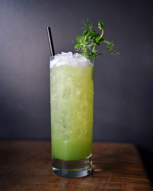 GREEN IS GOOD, gin, sugar snap peas, sauvignon blanc