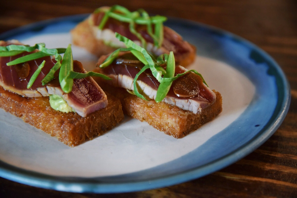Ahi Tataki on Spanish Toast, J.P.R'S SHOYU GARLIC, SMASHED TOMATO, AVOCADO, ESPELETTE PEPPER