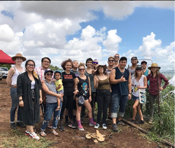 The crew on a harvest outing at Ho Farms in Kahuku two weekends ago, getting acquainted with where their ingredients come from.