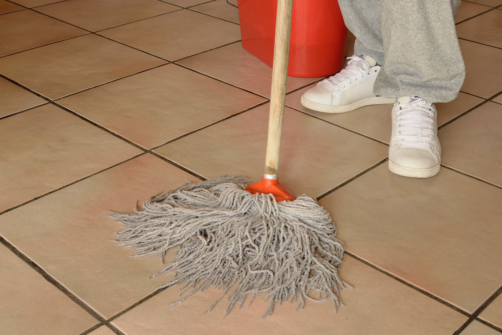 Mopping, cleaning floors, bucket