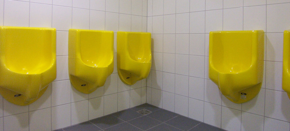 colored waterless urinals
