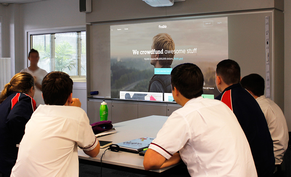 Jump Start students during their conference call with Pozible HQ in Melbourne.