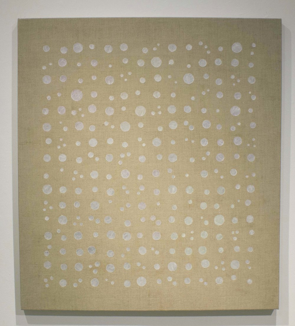 """Luminous Translucence   clear gesso on linen with paper 8"""" x 34"""" 2016"""
