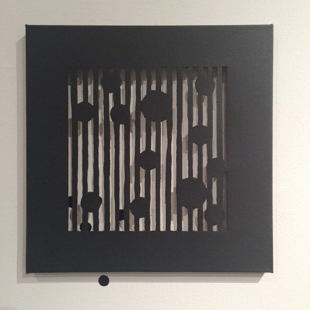 """spray paint on canvas,acrylic on wall 12"""" x 12"""" 2015"""