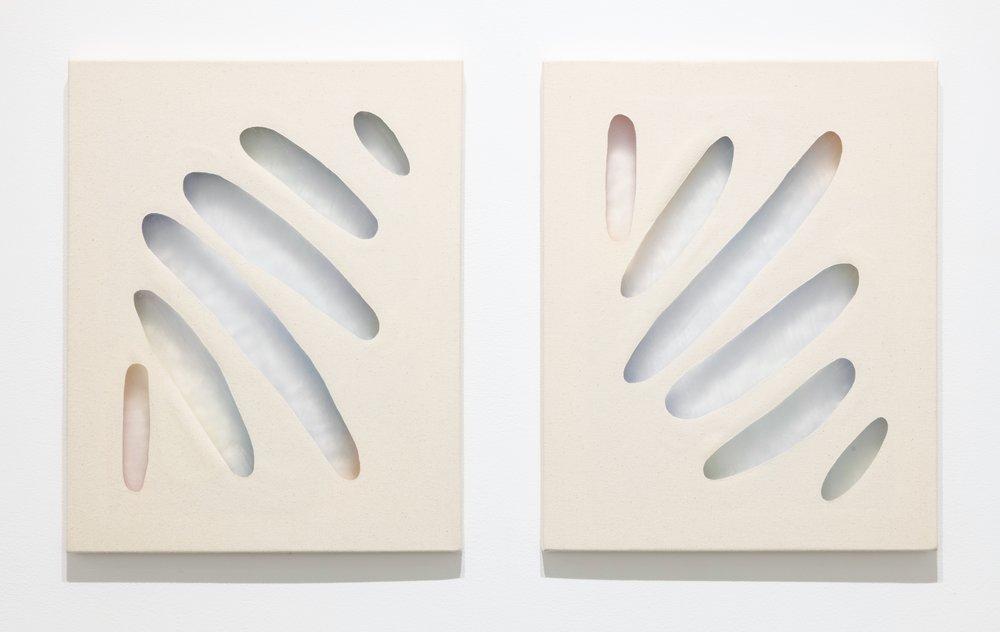 "iquid luminescence    acrylic and gel medium on canvas 20"" x 16"" (diptych) 2017"