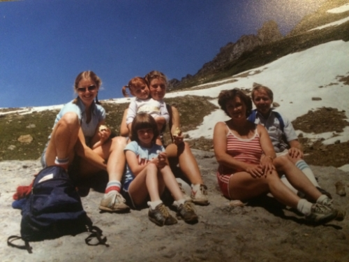 My family and my dad's students at Glacier - before the fall...