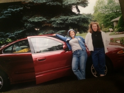 Our trusty wheels. (Sorry it's blurry - we didn't have digital cameras back then...)