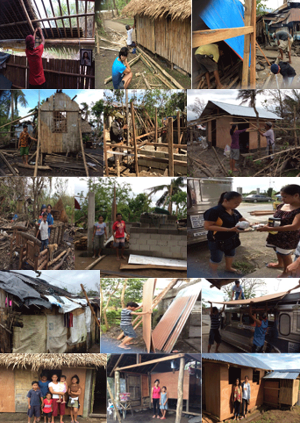 The progression of homes being restored to living conditions. Neighbors, family and friends all lent a helping hand in rebuilding their community.