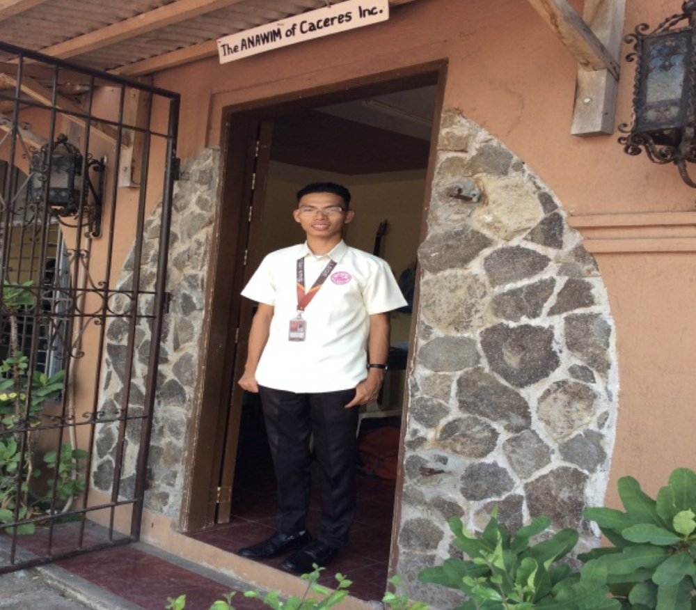 The 21 year old Jonel at the Anawim office, Nabua, Camarines Sur