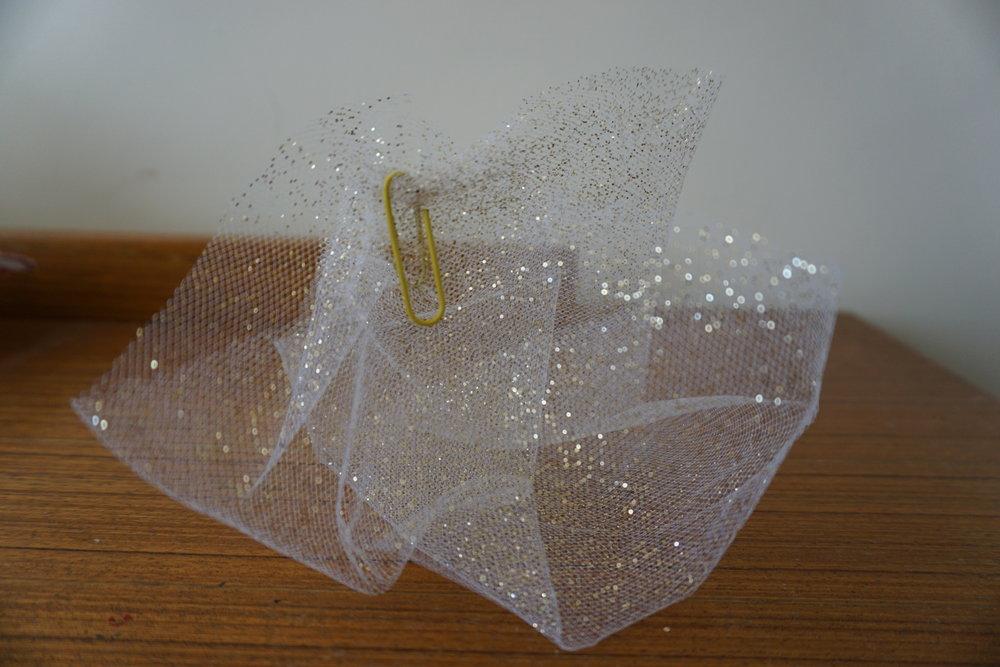 Sonja Porcaro,  Work in progress,  2019, glitter netting, paperclip, approx. 11 x `15 x 14 cm  Photograph: Sonja Porcaro