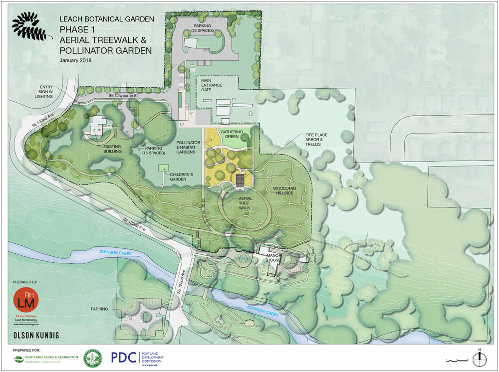 Phase 1 Implementation of the Leach Botanical Garden Master Plan is underway.  The first phase of development includes the Aerial Treewalk and Pollinator Garden.