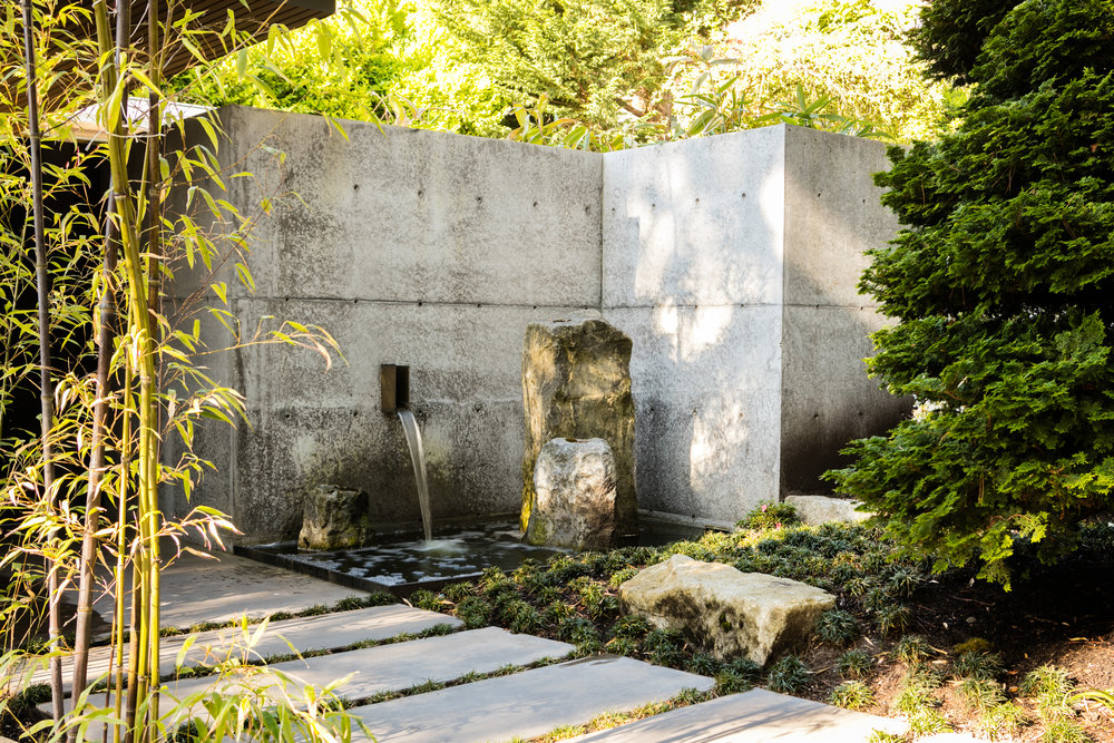 Modern Asian Garden with concrete accents