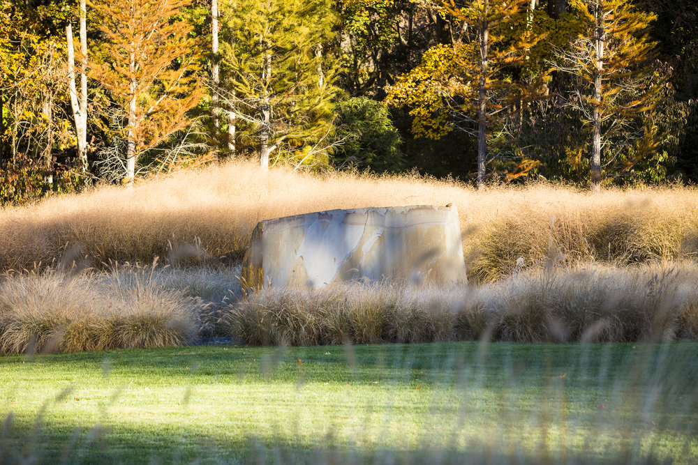 One can detect the distinct mood of fall in this image of lawn, meadow, and forest edges at InSitu in Redding, CT, by  Land Morphology    Photo by  Claire Tacacs