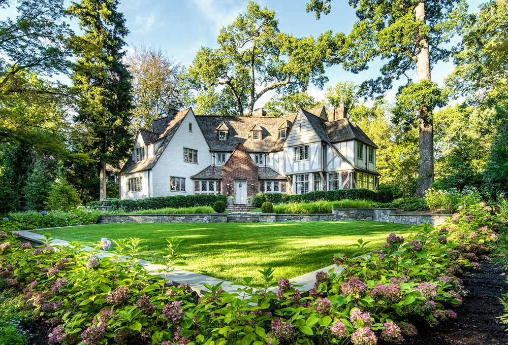 The landscape creates the context, scene, and backdrop for this beautiful home in Bronxville, NY by  Land Morphology.