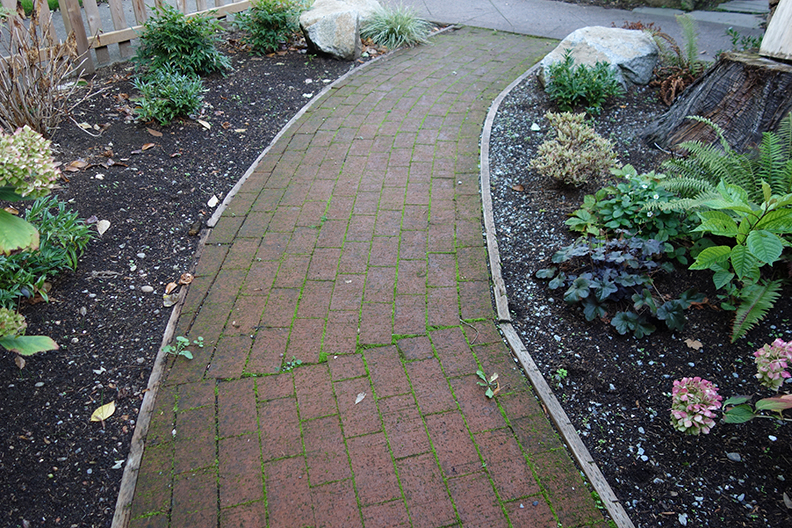 Poorly installed curved brick path
