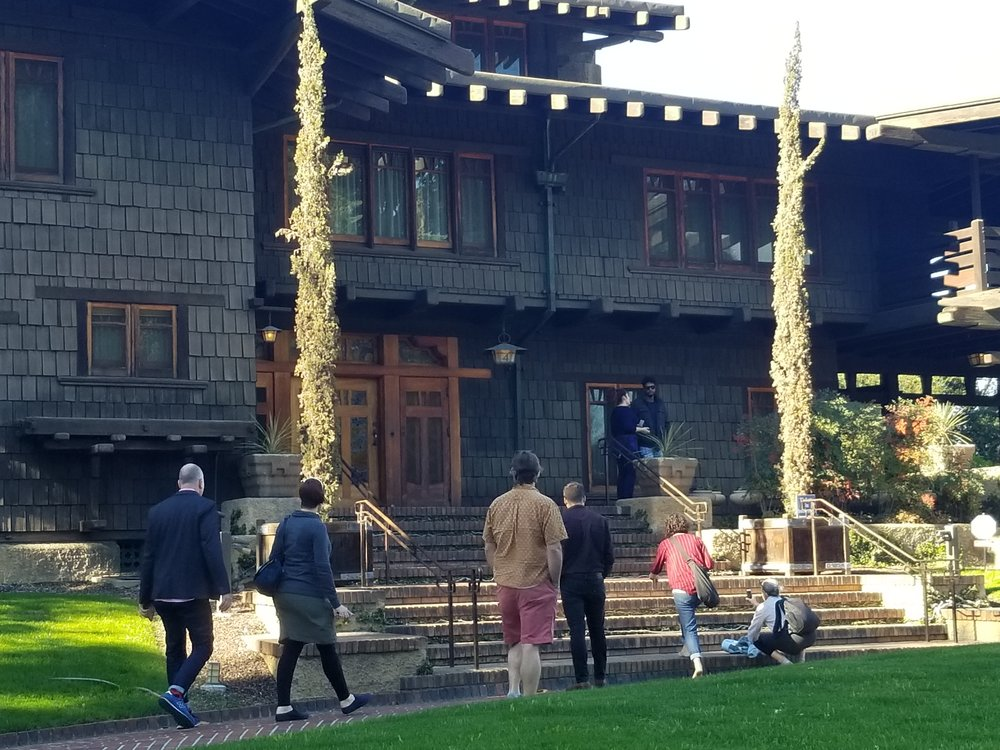 A few Land Morphology staffers approaching the  Greene and Greene  designed  Gamble House  in Pasadena, CA