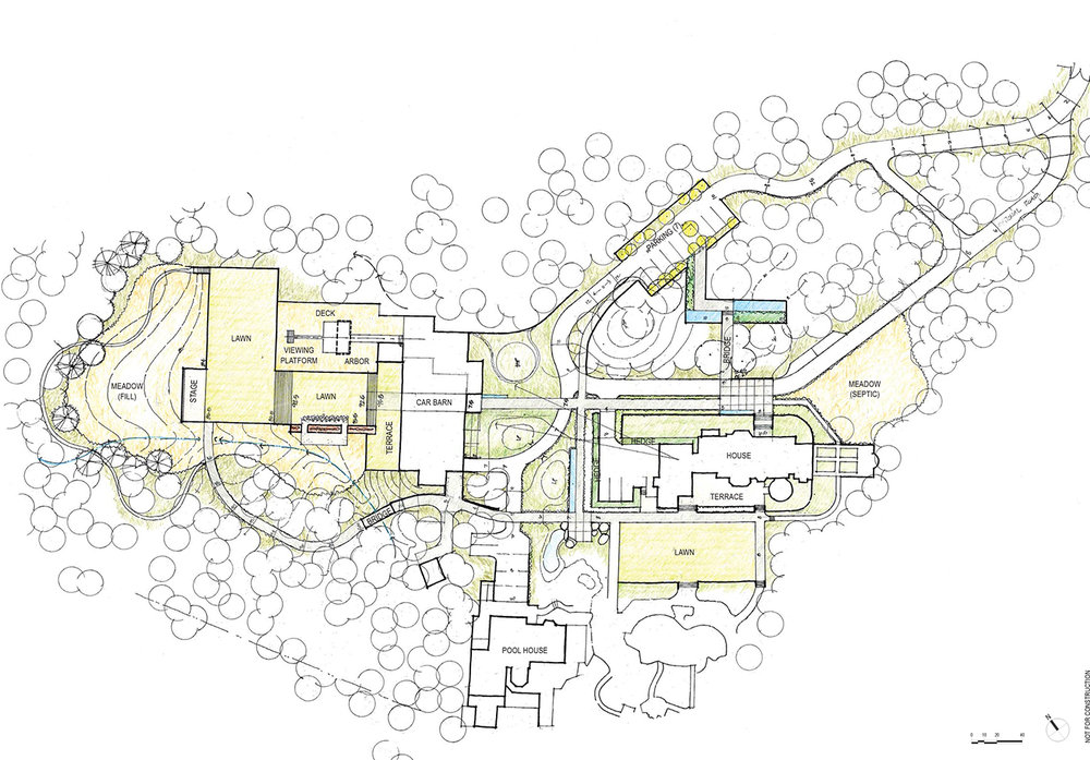 The Multi-use Building: acquisition of adjacent property and the addition of the new structure required reconsideration of the circulation patterns, and resulted in a revised concept plan for the site. A new multi-use building, including a garage, gym, art studio is under design on the recently acquired adjacent five-acre parcel.
