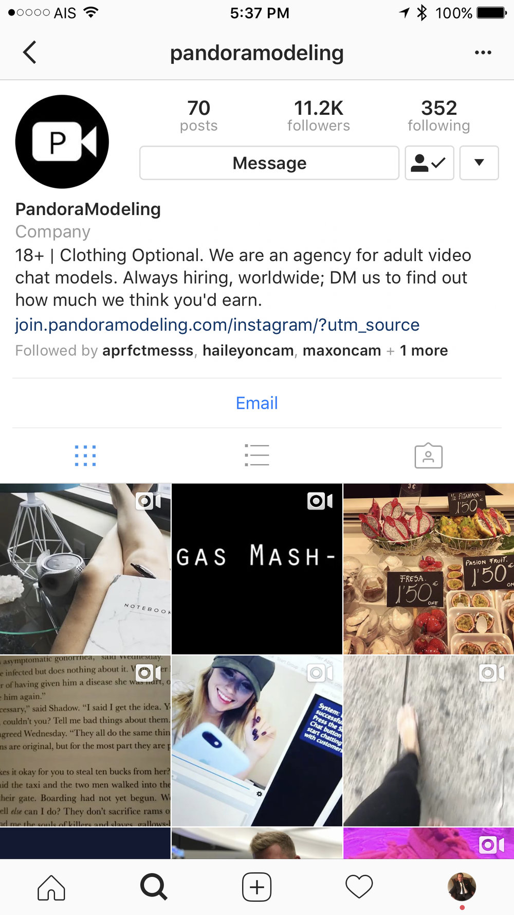 pandoramodeling instagram