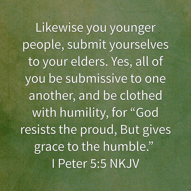 When we submit ourselves to each other is when maximum growth can take place.  It's not about power but of humility.  Let's learn from each other and most importantly submit ourselves to the lord, he is the king of kings and the lifter of our head.