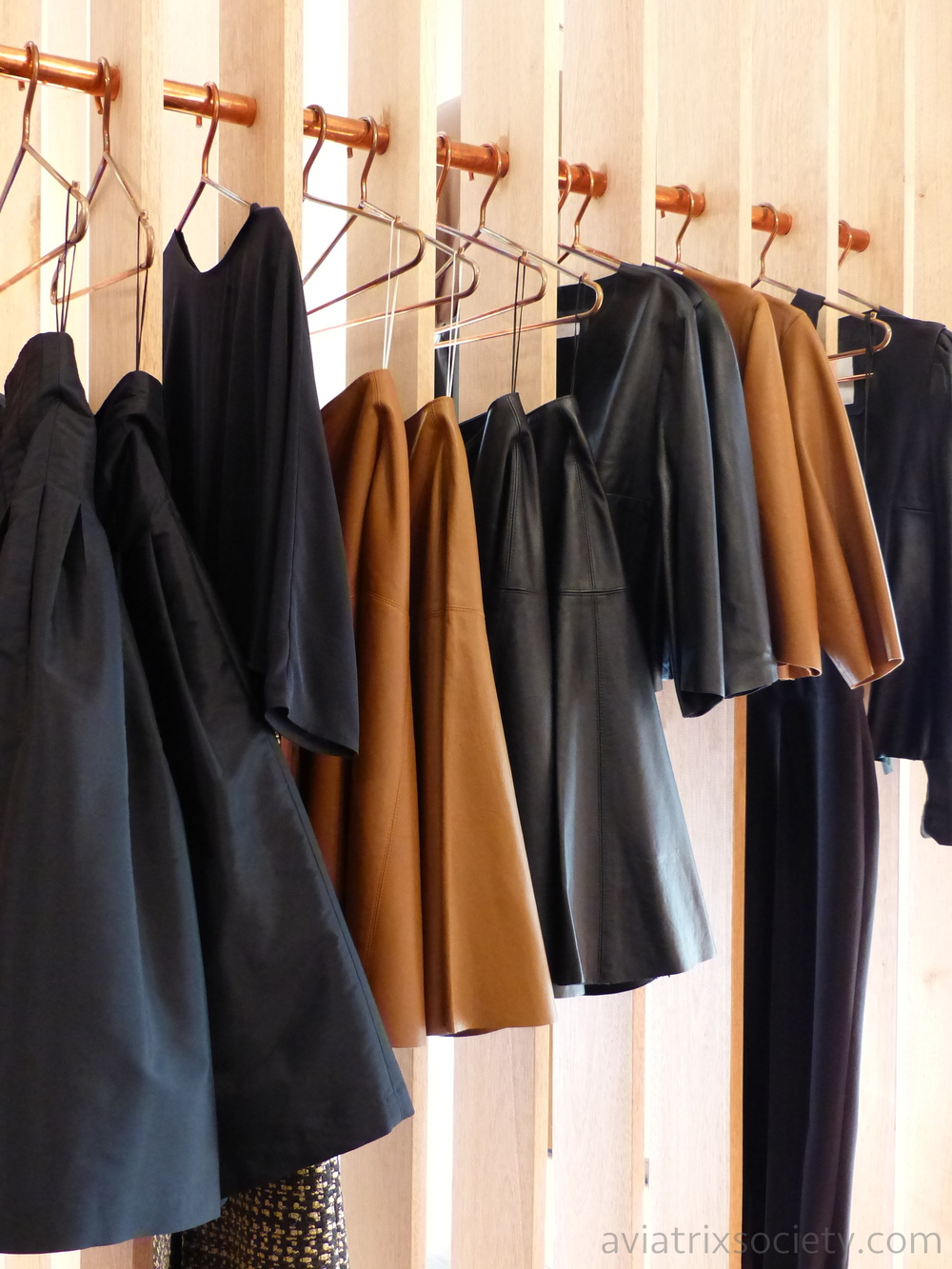 Leather A-Line skirts, cropped leather jackets, long sleeve Master leather jacket, tweed and silk skirts at Sandra Weil Polanco for our shopping guide of Mexico City