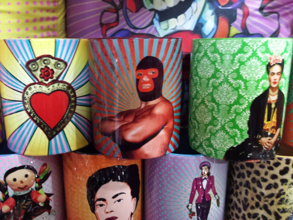 Pop art mugs with Lucha Libre and Frida Kahlo at La Cuidadela in Mexico City cdmx